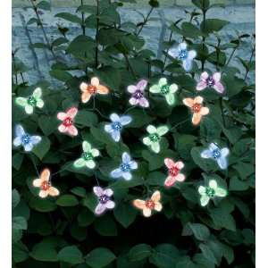 20 LED Multi Color Butterflies Solar Light String Patio