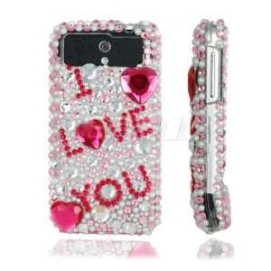 Ecell   PINK LOVE RHINESTONES CRYSTAL BLING CASE FOR HTC