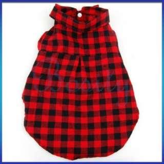 Red Pet Dog Plaid Shirt Coat Jacket Clothes Apparel XL