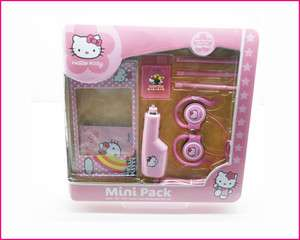 Hello Kitty Mini Gift Pack for Nintendo DSI XL/LL Car charger earphone