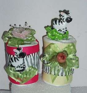 ZEBRA SAFARI JUNGLE DIAPER CUPCAKES BABY SHOWER TOPPER CAKE FAVOR GIFT