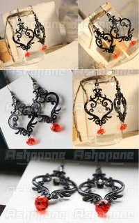 Fashion Black Hollow Floral Flower Vine Heart Shape Rhinestone Dangle