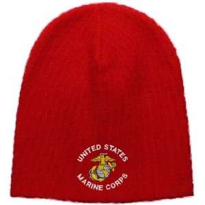 United States Marine Corps Embroidered Skull Cap   Red