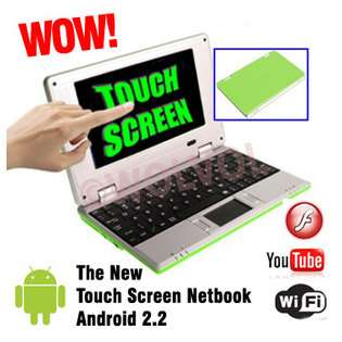 WolVol Touch Screen SMALL GREEN LAPTOP COMPUTER 7 Netbook with the