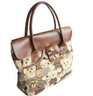 Classic Teddy Bear Flap Purse Bag Handbag Tote Satchel