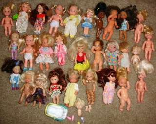 LARGE LOT 30 Barbie Kelly Club Sized Dolls Loose Babies 80s 90s Modern