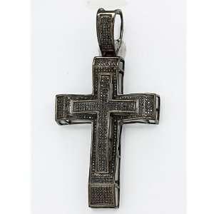 Sterling Silver Micro Pave Black Diamond Mens Hip Hop Religious Cross