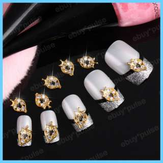 3D Gold Strawberry Rhinestone Alloy Nail Art Glitters DIY Decoration