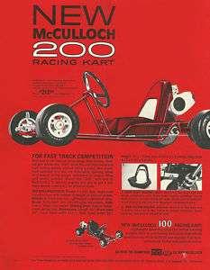 Vintage Beautiful 1960s McCulloch 200 RacingGo Kart Ad