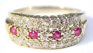 82ctw Ruby & Diamond 14KT Solid Gold Ring ~ Size 8