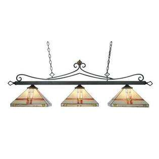 Landmark Lighting Three Light Bronze Pool Table Light