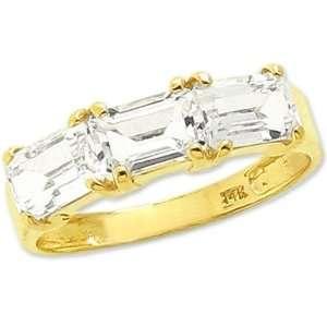 14K Yellow Gold Octagon Three Stone Ring White Topaz
