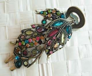 SWAROVSKI CRYSTAL BIG BRONZE LEAF BUTTERFLY HAIR BARRETTE CLIP 773