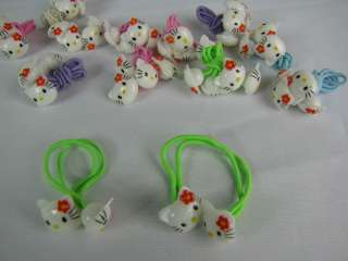 Hello Kitty 12 pairs Pony Tail Bands / Holder 5 Colors + Hello Kitty