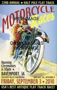 OLD MOTORCYCLE RACING ART POSTER HARLEY DAVIDSON INDIAN