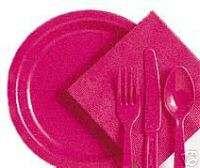 HOT PINK 7 Dessert / Cake Plastic Heavy Duty Plates