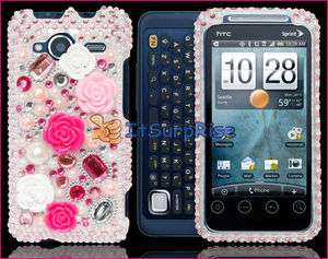 Bling Diamond Pink Rose Full Hard Case Cover For HTC EVO SHIFT 4G