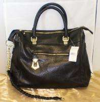 NEW STEVE MADDEN LEATHER BSOCIAL Satchel BLACK Handbag PURSE Double