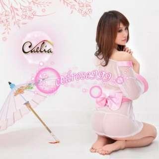 Sexy pink Lace Kimono Japanese Dress Costume H3