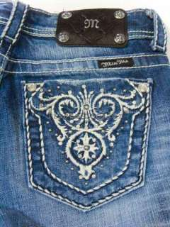 MISS ME Crystals Studs Wide Pick Stitch Blue Jeans NWT