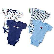 Gerber Boys 4 Pack Onesie   Blue (Newborn)   Gerber Childrenswear