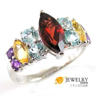 3ct Genuine Gemstones Amethyst Citrine Peridot Garnet Topaz Ring 925