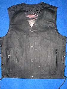 Mens Black Leather Motorcycle Biker VEST Concealed Gun Pocket S M L XL