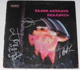 SABBATH Group Signed Autographed PARANOID ALBUM LP Ozzy Osbourne +3