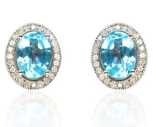 Blue Topaz and Genuine Diamond Earrings in 18K White Gold