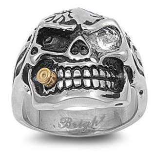 New Mens Stainless Steel Skull & Bullet Biker Ring   Sizes 9 15