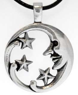 Moon Stars Man Silver Pewter Pendant Leather Necklace
