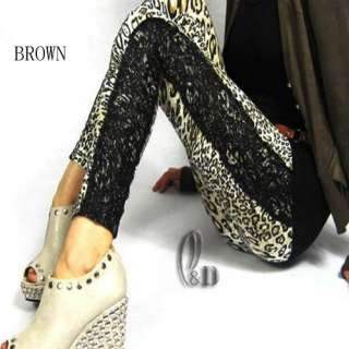 Leopard Animal print & Lace Tights Leggings Pants p015