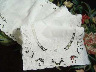 Rose Embroidery Hemstitch Cutwork Cotton Table Runner 128CM