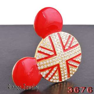 4p Union Jack Mouse Head 59MM Czech Rhinestone Crystal Golden Pendant