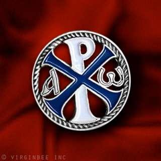 CROSS CHI RHO JESUS CHRIST NAME CHRISTOGRAM SILVER PIN
