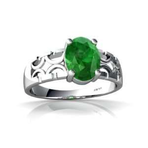 14K White Gold Oval Genuine Emerald Ring Size 8 Jewelry