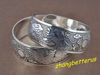 Silver Carved Dragon And Phoenix Bracelet Bangle Xmas gift