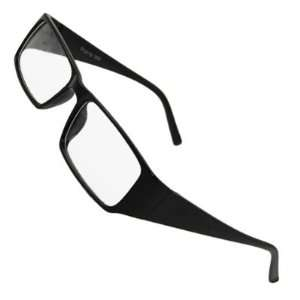 Como Man Woman Plastic Broad Arms Clear Lens Glasses Black