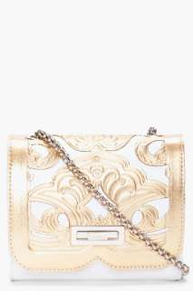 Balmain Gold Tone Ultimate Embossed Shoulder Bag for women  SSENSE