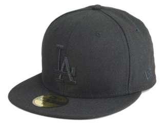 NEW ERA 5950 FITTED CAP LOS ANGELES DODGERS ALL BLACK MBL BASEBALL HAT