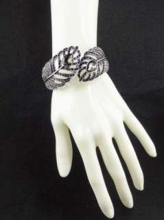 Black Diamond Jet Swarovski Crystal Antique Silver Feather Bangle