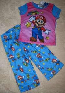 NINTENDO Super Mario Girls S/S Shirt /Capri Pajamas Pjs sz 10/12