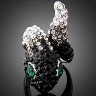 ARINNA Swarovski Crystal green eye snake finger Rings