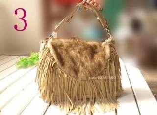 GK2397 New Fashion Womens Faux Leatheri fur tassel Shoulder Bags