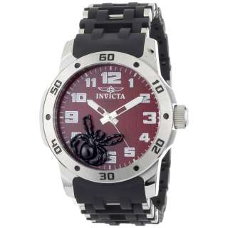 Red Dial Swiss Quartz Black Polyurethane and Stainless Steel Watch
