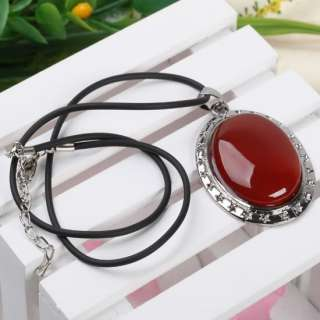 18.5L Cute Red Agate Oval Pendant Necklace Gemstone