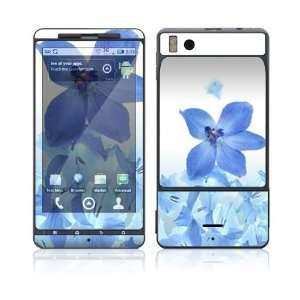 Motorola Droid X Skin Decal Sticker   Blue Neon Flower