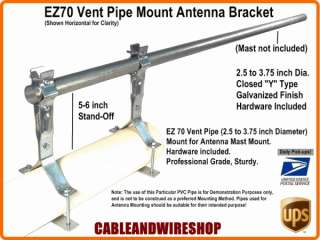 EZ70 Roof Vent Pipe Mount Antenna Mast Bracket ~ 3.75 609788492573