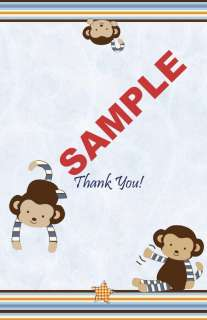 24 Printed Cocalo Monkey Mania Baby Shower Folded Thank You Cards