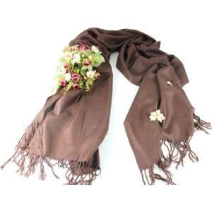 New Saddle Brown Wool Silk Pashmina Shawl Scarf Wrap(Great Gift Idea